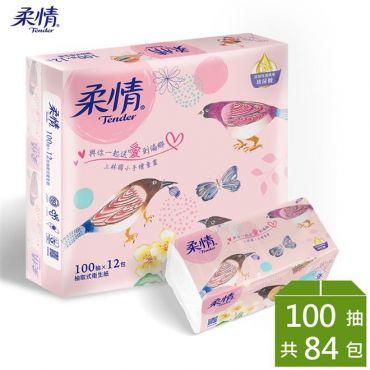 柔情 抽取式衛生紙-玻尿酸添加(100抽x84包箱)