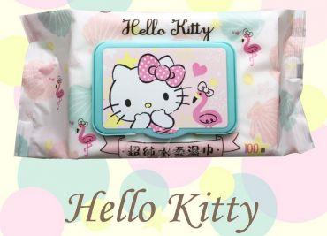 Hello Kitty 凱蒂貓超純水有蓋柔濕巾/濕紙巾(加蓋)100抽